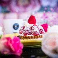 Bloom's beautiful Cream Tartlet dessert, served with red fruits.